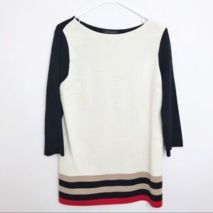 St. John | Knit Stripe Sweater Blouse 3/4 Sleeve M